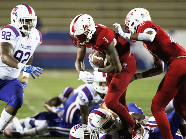 South Alabama wide receiver Jamarius Way (3) pushes for yardage against Louisiana Tech in the second half of a NCAA football game Saturday, Sept. 1, 2018, at Ladd-Peebles Stadium in Mobile, Ala. (Mike Kittrell/AL.com)