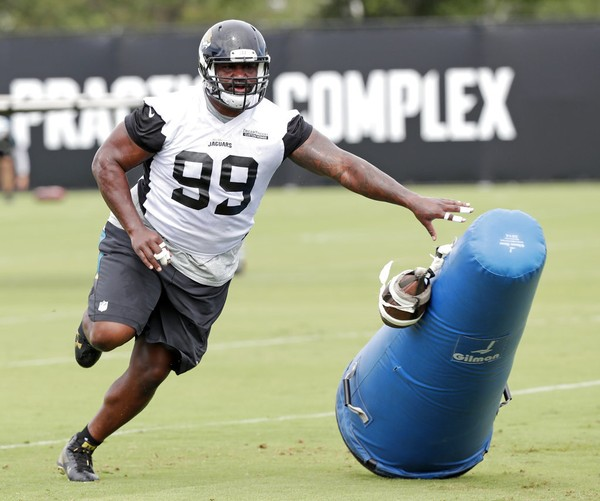 Jacksonville Jaguars defensive tackle Marcell Dareus runs through a drill during the NFL team's minicamp on June 14, 2018, in Jacksonville, Fla.