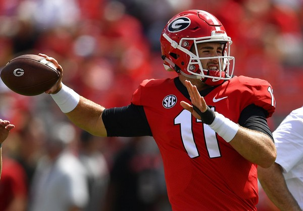 Georgia quarterback Jake Fromm (11) warms up before the first half of an NCAA college football game against Austin Peay, in Athens, Ga. Middle Tennessee plays at No. 3 Georgia on Saturday. (AP Photo/Mike Stewart, File)