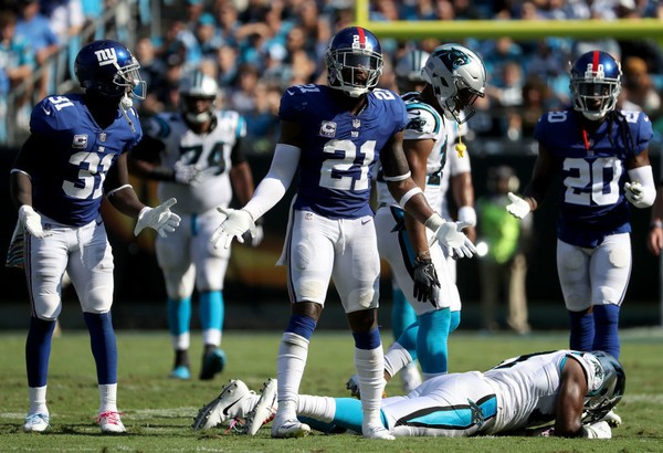 4354ff22b81 New York Giants strong safety Landon Collins (21) reacts after being called  for a