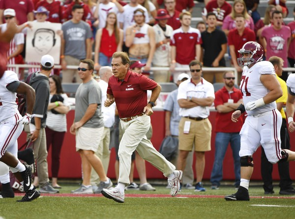 Alabama coach Nick Saban during pregame practice as the Crimson Tide prepare to play Arkansas in an NCAA college football game Saturday, Oct. 6, 2018, in Fayetteville, Ark. (AP Photo/Michael Woods)