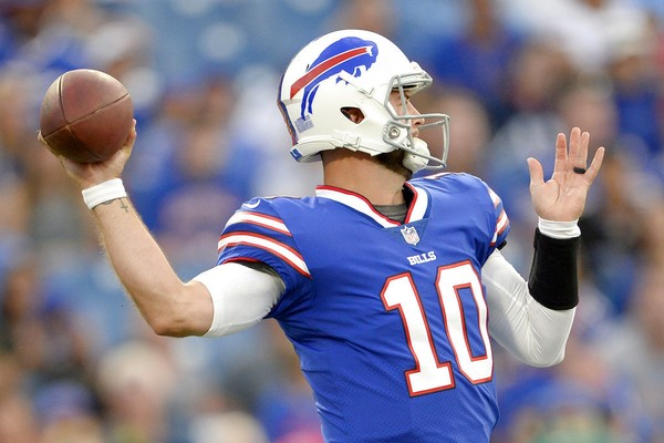 Buffalo Bills quarterback AJ McCarron throws a pass against the Carolina Panthers during an NFL preseason game on Thursday, Aug. 9, 2018, in Orchard Park, N.Y.