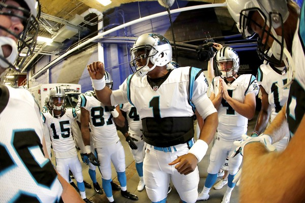 Carolina Panthers quarterback Cam Newton talks to his team before an NFL preseason game against the Buffalo Bills on Thursday, Aug. 9, 2018, in Orchard Park, N.Y.