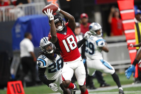 Atlanta Falcons wide receiver Calvin Ridley gets inside of Carolina Panthers  cornerback Donta Jackson to catch 611844207