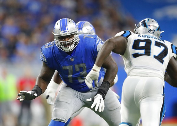 Detroit Lions offensive tackle Greg Robinson blocks against Carolina Panthers defensive end Mario Addison during an NFL game in Detroit on Oct. 8, 2017. Robinson played at Auburn, and Addison played at Tarrant High School and Troy