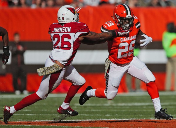 Arizona Cardinals safety Rashad Johnson moves in to tackle Cleveland Browns running back Duke Johnson Jr. on Nov. 1, 2015, at FirstEnergy Stadium in Cleveland, Ohio.