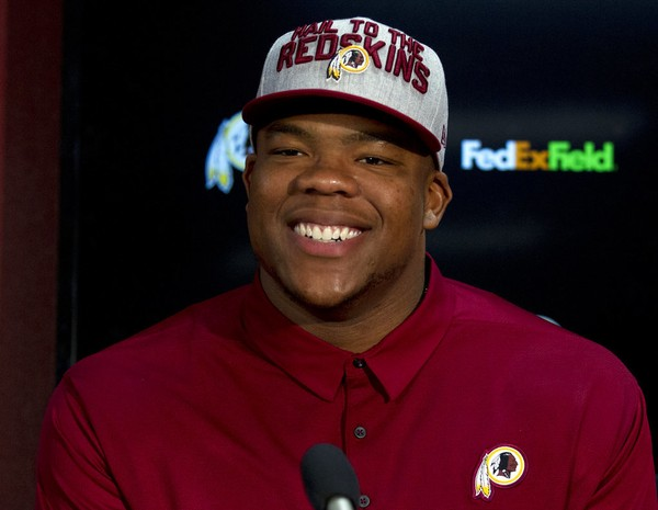 Washington Redskins defensive tackle Da'Ron Payne attends a press conference in Landover, Md., on Saturday, April 28, 2018.