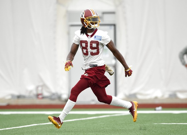 Washington Redskins wide receiver Cam Sims practices during minicamp on June 13, 2018, in Ashburn, Va.