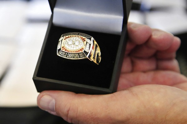 Super Bowl rings are unpacked at Redskins Park in Ashburn, Va., on June 12, 2018, before being presented to the Washington Redskins' replacement players from their 1987 team.
