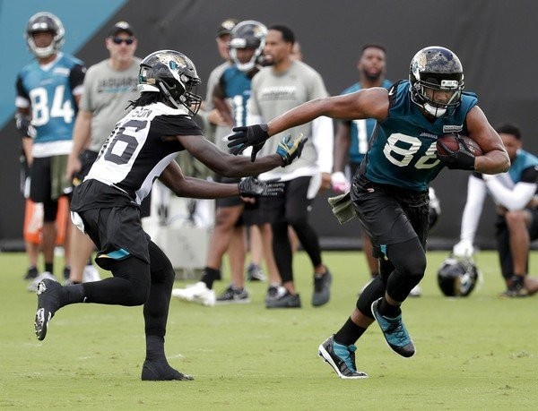 3fa4f7702 Jacksonville Jaguars safety Ronnie Harrison (left) and tight end Austin  Seferian-Jenkins participate