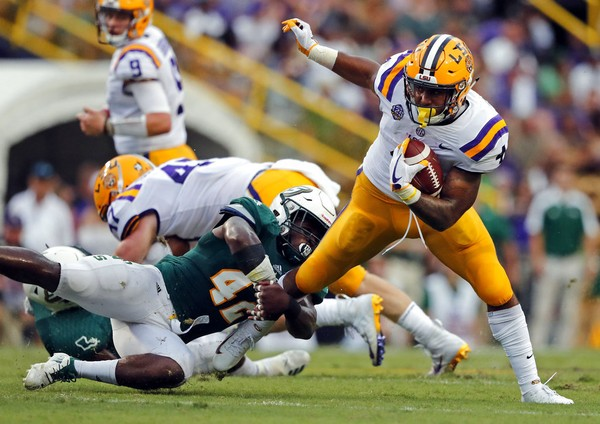 LSU running back Nick Brossette carries the football against Southeastern Louisiana on Saturday, Sept. 8, 2018, at Tiger Stadium in Baton Rouge, La.