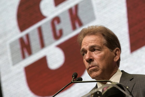 NCAA college football head coach Nick Saban of Alabama speaks during the Southeastern Conference Media Days Wednesday, July 18, 2018, in Atlanta. (AP Photo/John Amis)