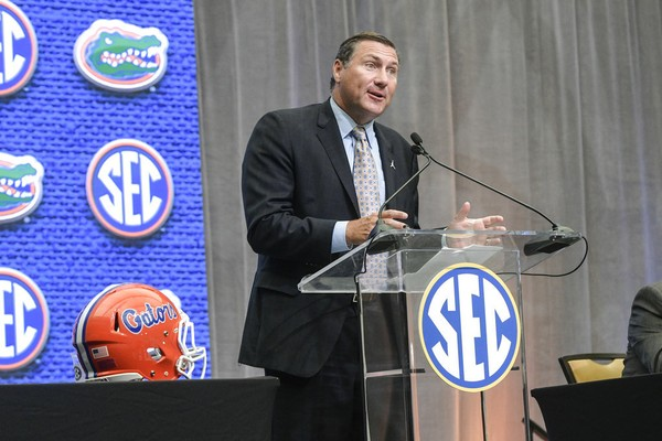 Florida head coach Dan Mullen speaks during the NCAA college football Southeastern Conference media days at the College Football Hall of Fame in Atlanta, Tuesday, July 17, 2018. (AP Photo/John Amis)