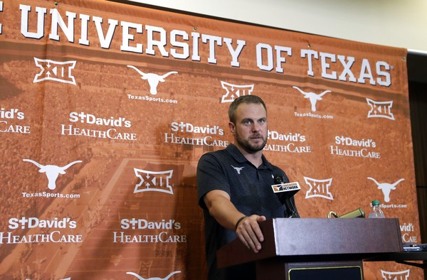 Texas head coach Tom Herman responds to a question during a news conference, Thursday, Aug. 2, 2018, in Austin, Texas. Texas will play Maryland to open their season. (AP Photo/Eric Gay)