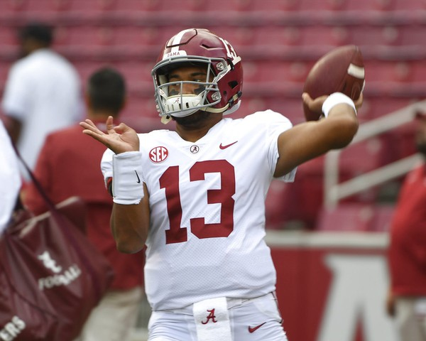 Alabama quarterback Tua Tagovailoa will play in his first SEC championship game Saturday. (AP Photo/Michael Woods)