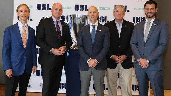 Birmingham Legion FC will begin playing in 2019. Pictured are co-owners Jeff Logan, James Outland and Lee Styslinger, III along with USL president Jake Edwards and Legion FC vice president Morgan Copes.