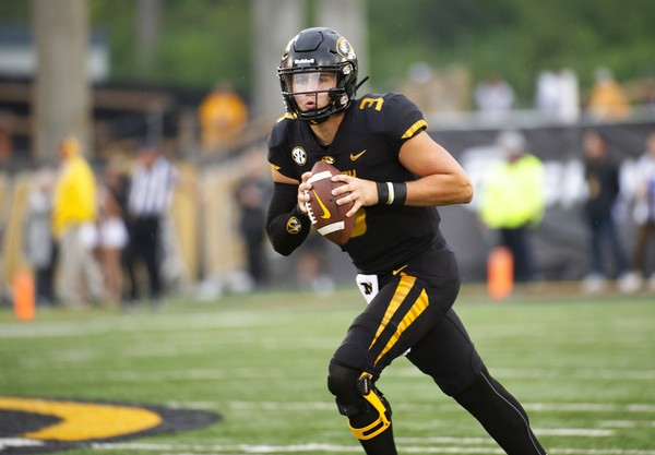 Missouri quarterback Drew Lock warms up for the Tigers' game against Wyoming on Sept. 8, 2018, in Columbia, Mo.