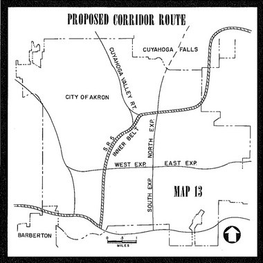 A route originally proposed for the Akron Innerbelt freeway, stretching from US Route 224 in Barberton past Ohio Route 8 and into Cuyahoga Falls.