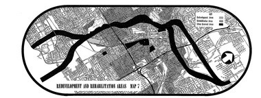 """A 1963 map distinguishing certain areas of Akron as """"redevelopment areas"""" (light shading), """"rehabilitation areas"""" (heavier shading), and """"urban renewal areas"""" (black), where the proposed Innerbelt freeway could be built."""
