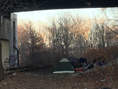 Many homeless encampments are established within railroad right-of-ways.