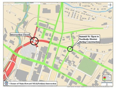 Access to the Northside Arts District during the closure will be Perkins to Summit and Furnace to North Main.