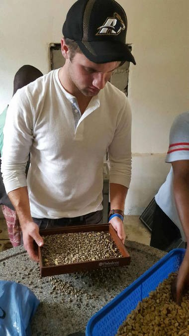 Drew Dawson, an integrated marketing communications major, went to Haiti to find a coffee plantation to source beans and bring a sample back to Akron. With a Haitian friend as interpreter, Dawson rented a jeep, found a mountaintop coffee plantation and learned about the crop.