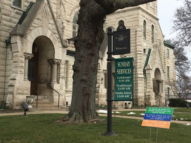 An announcement about the new Akron Civil Rights Commission and non-discrimination ordinance was made at the First Congregational Church of Akron, which has been on the forefront of welcoming and protecting the community's marginalized groups.