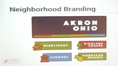Proposed logos for Akron's Middlebury, Kenmore, Highland Square and Goodyear Heights Neighborhoods.