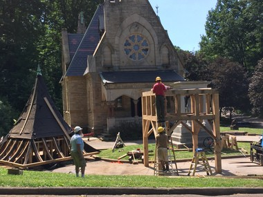 The framework for the bell was rebuilt in June during a timber framing workshop led by master timber framer Rudy Christian.