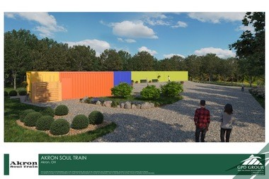 Phase I of the village, soon to break ground, will include shipping containers housing two studio areas, gallery space and a restroom area.