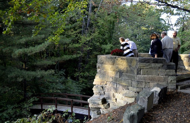 Stan Hywet's Hidden Aspect is a dry-stone picnic pavilion positioned to provide views of two major vistas overlooking the Cuyahoga Valley.