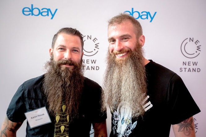 Whiskertin, a craft lighting company in Akron owned by Aaron Novak (left) and Glenn Miller, is showcasing products in New York City this month through eBay's Retail Revival Akron program.