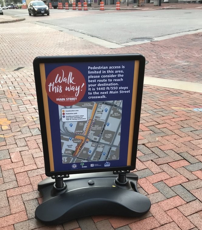 """During the project, look for """"Walk This Way!"""" signs offering maps of downtown blocks, and showing pedestrian walkways and construction zones."""