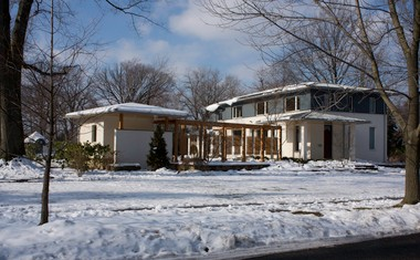 The Butler-Nissen house seen from the curb in its Cleveland Heights neighborhood.