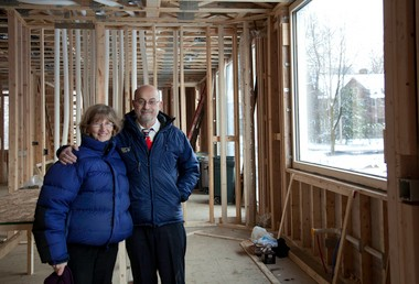 "Photographer Linda Butler and Dr. Steve Nissen, in their new ""Passive House"" while it was under construction."