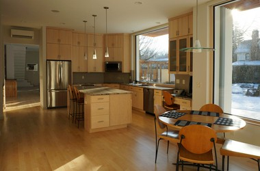 The kitchen of the Butler-Nissen house is sleek, simple and elegant.