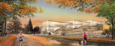 The Weiss-Manfredi concept for the KSU building called for a light, transparent structure.