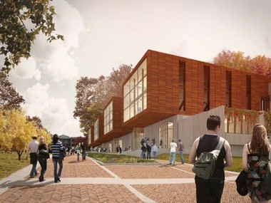 """The proposal from the Collaborative of Toledo with Miller Hull of Seattle called for rectangular """"tubes"""" containing architecture studios, set atop a one-story rectangular base that parallels the new KSU Esplanade."""