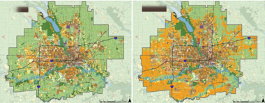 Alternatives for the future of Des Moines, Iowa, where Sasaki & Associates led a scenario planning process, included vastly different amounts of suburban housing, as indicated by the color orange. The firm may come up with similar types of maps for the NEOSCC planning effort for Northeast Ohio.