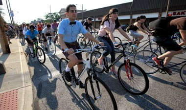 Bike commuting is up sharply in Cleveland. So are events such as the 2011 Nerd Ride in Lakewood, staged to raise money for bike racks.