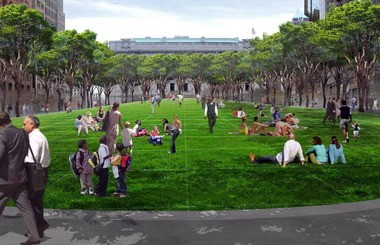 Cleveland Mayor Frank Jackson has endorsed the idea of closing Ontario Street to traffic in Public Square to create a larger green space in the heart of downtown. Landscape architect James Corner will soon present the city with a refined version of this 2011 iteration of the plan.
