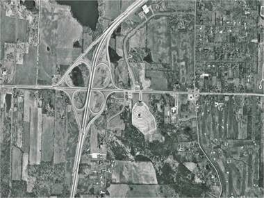 """Ready for """"growth"""": the Montrose area at I-77 - SR-18 in 1970..."""