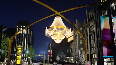 A giant glass crystal chandelier will be the new visual centerpiece of PlayhouseSquare, according to a plan released by the non-profit arts district Tuesday.