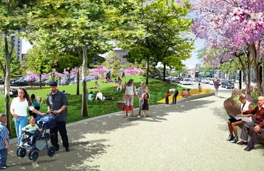 "A digital rendering suggests the inviting pastoral atmosphere James Corner Field Operations wants to create with the ""Picnic Hill"" suggested for Public Square's northwest corner."