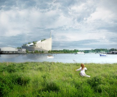 A rendering depicts the Amager Bakke waste-to-energy plant in Copenhagen, now under construction, which will have a ski slope on its roof.