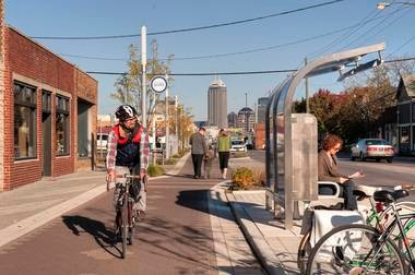 The new Cultural Trail in Indianapolis provides eight miles of high-quality bike paths linking the city's downtown to a half dozen surrounding cultural districts.