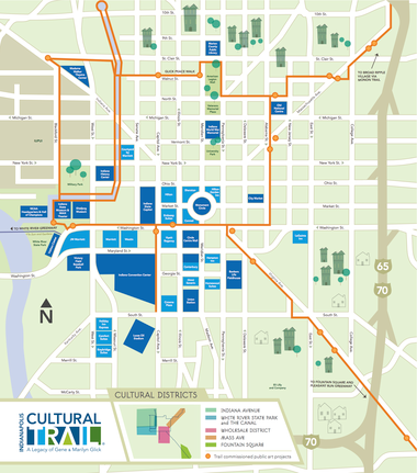 The Indianapolis Cultural Trail encompasses the city's downtown and surrounding neighborhoods.