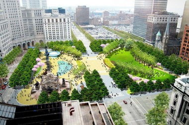 Roughly $30 million from a proposed budget of $350 million in public and private funds raised by Cleveland and Cuyahoga County would be devoted to a revamp of Public Square as envisioned by James Corner Field Operations, the landscape firm that helped design the widely acclaimed High Line Park in New York.