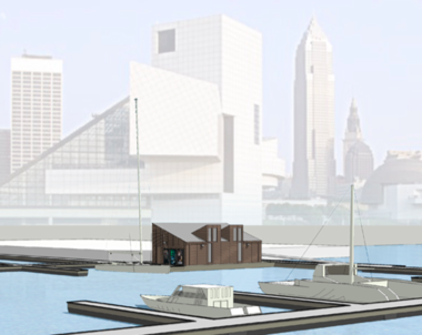 The planned North Coast Harbor marina building in situ.