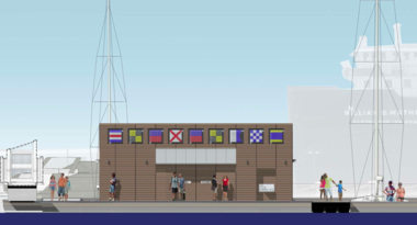 The Paul Volpe marina amenity building viewed from the east. The structure will rise 16 feet from the water, or eight feet above the height of the dock north of the Rock and Roll Hall of Fame and Museum.